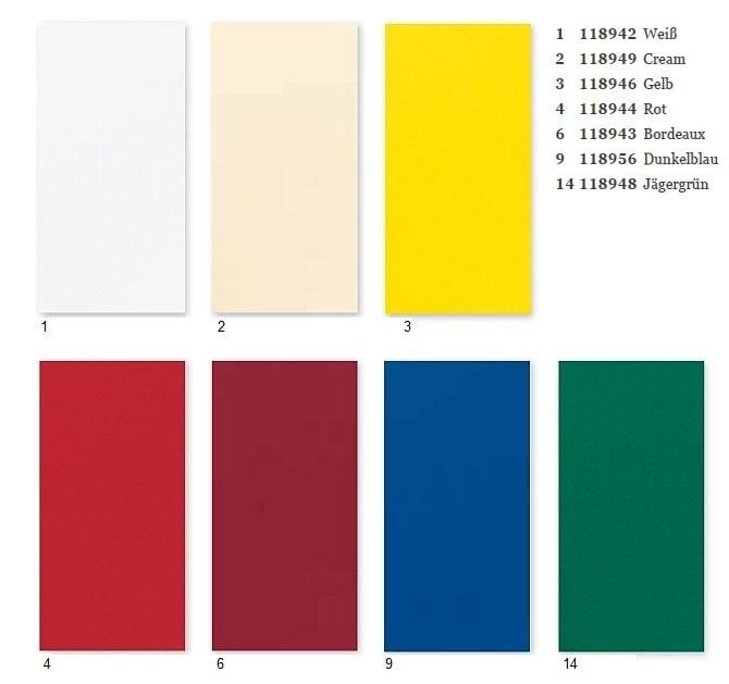 tischdecke duni farbkarte duni tischdecken 125 x 160 cm in der bersicht. Black Bedroom Furniture Sets. Home Design Ideas