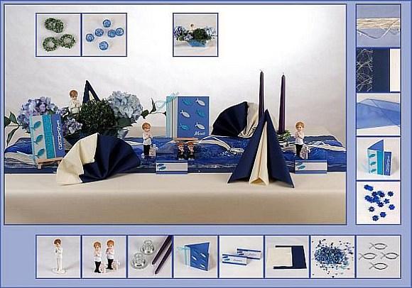 Bilder Dekorierte Tische :  Tischdeko Kommunion » Dekorierte Muster Tische » Mustertisch Blau