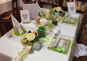 Tafeldeko Mustertisch für die Tischdeko an Ihrer Hochzeit in Grün