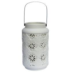 Gartenlaterne mit Ornamenten, aus Keramik, in weiß
