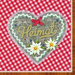 20er Pack Heimat Herz Rot Servietten, 33 x 33 cm