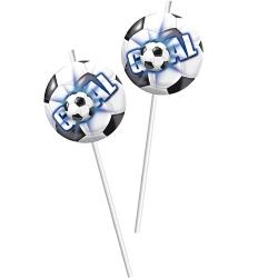 6er Pack Trinkhalme Fußball in Blau
