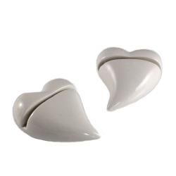 2er Set Herz Tischkartenhalter in Weiß glasiert
