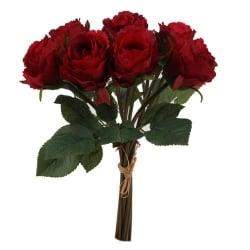 9er Bund Kunstblumen Rosen in Rot