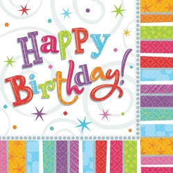 16er Pack Servietten Happy Birthday, 33 x 33 cm