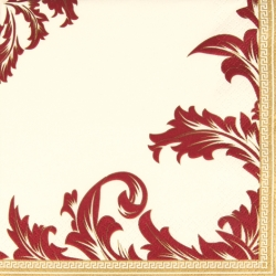 20er Pack Servietten Ornamentmotiv in Gold/Bordeaux, 33 x 33 cm