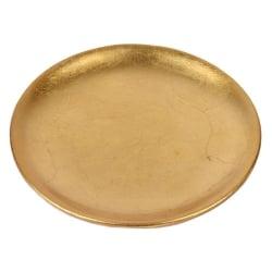 Keramik Kerzenteller in Gold, 15 cm