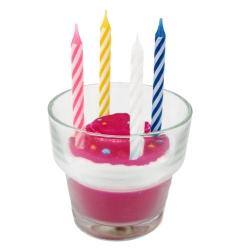 Kerzenglas Törtchen mit Geburtstagskerzen in Pink