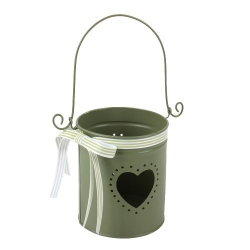 Metall Windlicht Herz in Olive, 12 cm