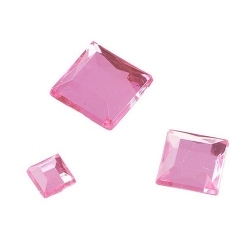 110er Pack Streu Glamoursteine Quadrat in Rosé