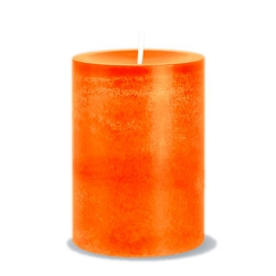 Stumpenkerze Rustic in Orange, durchgefärbt, 90 x 70 mm