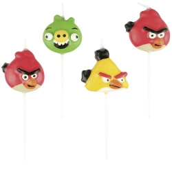 4er Pack Mini-Figurenkerzen Angry Birds
