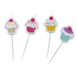 4er Pack Mini-Figurenkerzen Cupcake