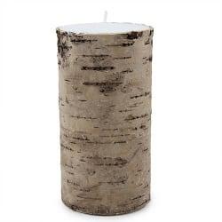 Stumpenkerze mit echter Birkenrinde umhüllt, 14 cm