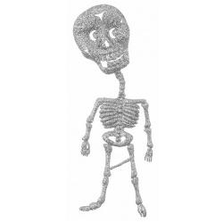 2 Halloween Skelette glitzernd zum Aufhängen, 18 cm