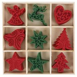 36er Box Filz Weihnachtsstreu mit Ornamenten