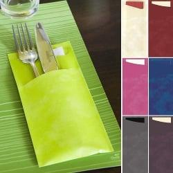 Bestecktaschen Serviettentaschen Blau oder Creme Auswahl Hochzeit Konfirmation