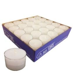 50er Pack Teelichter weiß, transparente Hülle, 8 h Brenndauer