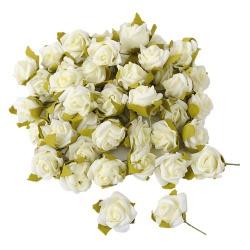 50 Rosenköpfe in Creme/Weiß als Streudeko