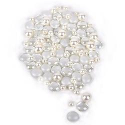Glaslinsen mit Perlen in Perlmutt