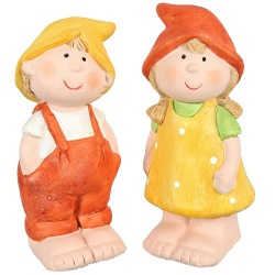 2er Set Wichtel Kinder in Gelb/Terracotta, 90 mm