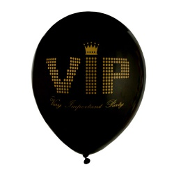 8er Pack Luftballons -VIP- Very Important Party in Schwarz/Gold