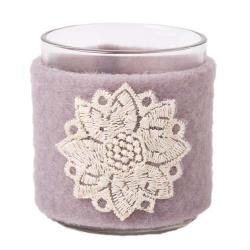 Teelichtglas Filz Banderole mit Edelweiß bestickt, 80 mm
