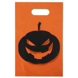 10 Halloween Süßigkeiten Tüten in Orange/Schwarz, 25 cm