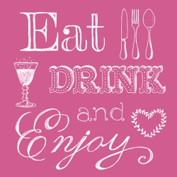 20er Pack Servietten Eat, Drink and Enjoy in Pink, 33 x 33 cm