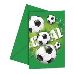 6 Einladungskarten Fußball mit Umschlag in Grün