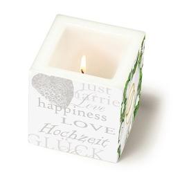 Eckige Kerze Happiness and Love zur Hochzeit, 80 mm