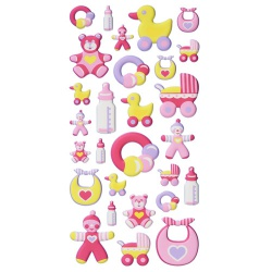Klebe Softy Sticker Taufe, Babygirl