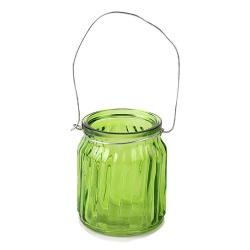 Teelichtglas mit Henkel in Grün