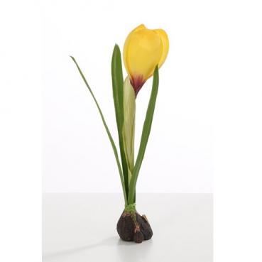 Kunstblume Garten Krokus mit Zwiebel in Gelb, 19 cm