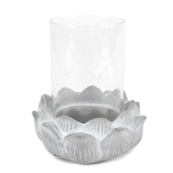 Windlichtglas auf Blütensockel, 16 cm