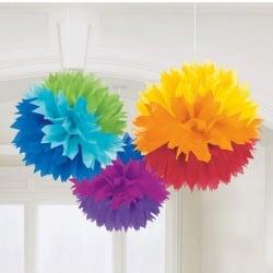 3 Pompons zur Raumdeko, Regenbogenfarben, 40 cm