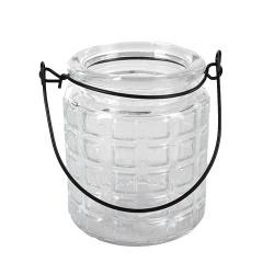 Glas Windlicht Retro mit Henkel Nr. 5, 90 mm