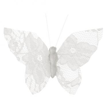 4 Schmetterlinge aus Spitze mit Klammer in Weiß, 80 mm