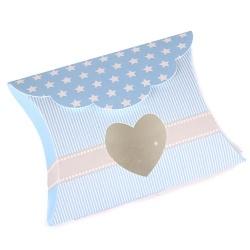 Bonboniere Taufe mit Sternen, Streifen, Herz in Hellblau, 85 mm