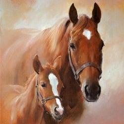 20er Pack Servietten Pferd mit Fohlen, 33 x 33 cm
