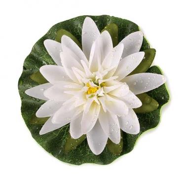 Kunstblume Seerose mit Tautropfen in Weiß, schwimmfähig