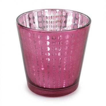 Teelichtglas Punkte verspiegelt in Rosa-Pink metallic, 75 mm