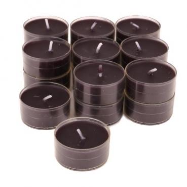 18 Duftteelichter in Schwarz, transparente Hülle, 4 h Brenndauer