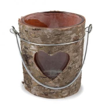 Teelichtglas mit echter Birkenholzrinde, Herz, 75 mm