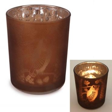 Teelichthalter Eulen verspiegelt in Braun, 85 mm