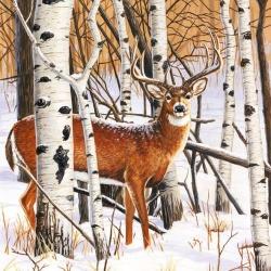 20er Pack Servietten Hirsch im Winterwald, 33 x 33 cm