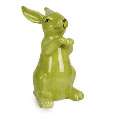 Keramik Osterhase stehend, Pfötchen oben in Grün, 14,5 cm