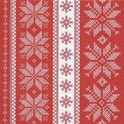 20er Pack Servietten Winter Ornamente in Rot/Weiß, 33 x 33 cm