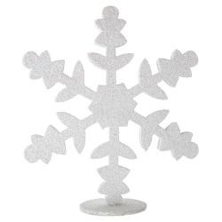 Glitzer Eiskristall, Schneeflocke in Weiß-Perlmutt zum Aufstellen, 15 cm