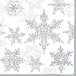 20er Pack Servietten Eiskristalle in Weiß/Silber, 33 x 33 cm